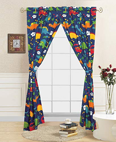 Golden Quality Bedding 4 Pieces Multi Color Orange Navy Blue Dinosaur Jurassic World Printed Kids Window Curtains/Drape/Panels/Treatment Set with Tie Back #Multi Dinosaur Curtain