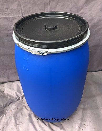 200 Liter Regentonne mit Deckel Dichtungsgummi und Spannring Futtertonne Kunststofffass Fass Deckelfass Rundfass Standfass blau Regenfass Weithalsfass 200L