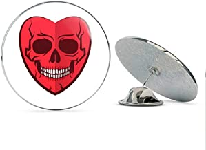 BRK Studio Cool Different Valentines Day Emo Skeleton Face in Red Heart Cartoon Round Metal 0.75