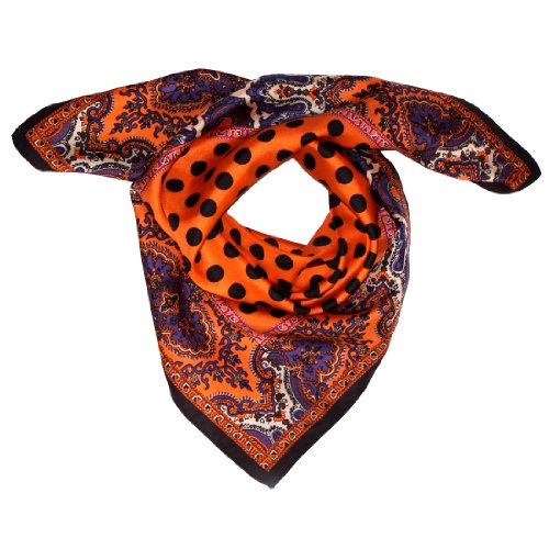 LORENZO CANA Foulard pour la femme – écharpe de 100% soie pour le printemps et l´été, carré avec les mesures de 70 x 70 cm – une sensation de luxe en orange noir violet rose beige ocre