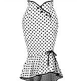WEUIE Womens Ruffles Bodycon Fishtail Skirt Retro Polka Dot Casual Party Mermaid Pencil Skirt Midi Skirt White