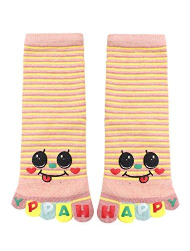 sourcingmap® Kinder Streifen Buchstaben Lächelgesicht Druck Crew volle Socken Gr. 8-9,5 Rosa