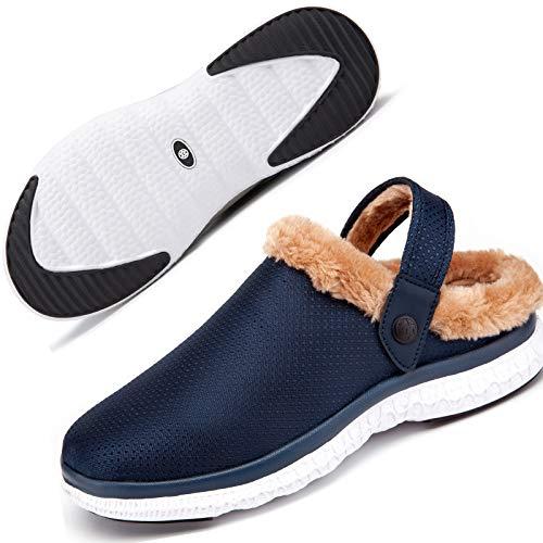 Zuecos y Mules para Mujer Hombre Forro Caliente Zapatillas de Estar Pantuflas de jardín Chanclas Zapatilla Invierno Azul Oscuro 44