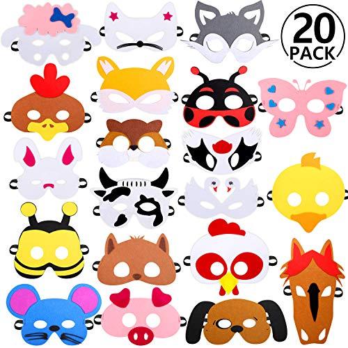 Rymall Maschere Animali Festa, 20 PCS Maschere di Animali per Bambini Maschere Feltro per Festa di Compleanno, Mascherata, Halloween