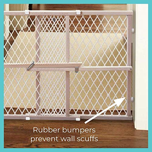 """Toddleroo by North States 42"""" wide Diamond Mesh Baby Gate: Installs in seconds. Pressure Mount. Fits 26.5"""" - 42"""