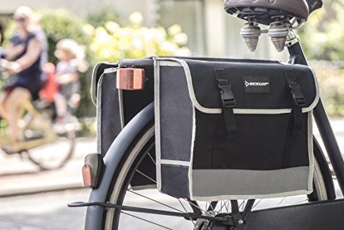 Dunlop FGT19 Doppel-Fahrradtasche Gepäckträgertasche für Rahmen, Cityrad Gepäckträger Tasche je 14,5 L Volumen, wasserdichte Radtasche , Fahrrad Seitentasche mit Clip-Verschluß, schwarz - 3