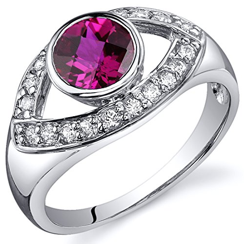 Peora Created Ruby Ring Sterling Silver 1.00 Carats CZ Accent Size 7