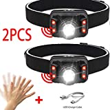 LZRDZSWYXGS 2020 2 Piezas de Año Faro USB Cabeza LED Recargable Antorcha Brillante estupenda con Sensor de Movimiento de Cuerpo for Acampar al Aire Libre Adecuado para la Lectura al Aire