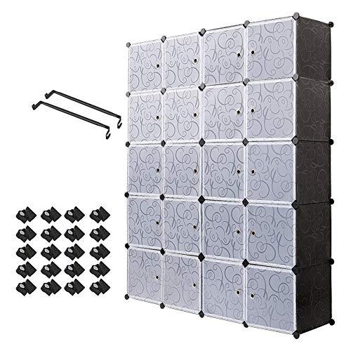 Meerveil Kleiderschrank, Garderobenschrank Kunststoff Steckregal DIY Modular Schrank Regalsystem mit 2 Kleiderstange (20-Kubus)