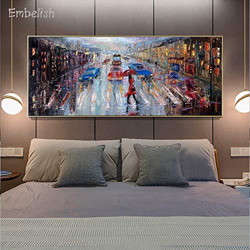 KWzEQ Leinwanddrucke City Street View Poster und Wandbilder für Wohnzimmer Dekoration Wohnkultur30x70cmRahmenlose Malerei