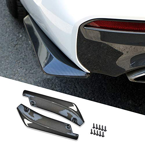 Car Bumper Spoiler Carbon Fiber, Rear Bumper Lip Anti-crash Diffuser Splitter Canard Protector, Wrap Angle Protector with 10 Bolts Universal