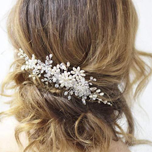 Simsly Peineta para el pelo de novia con flores y perlas plateadas,...