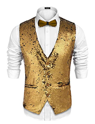 COOFANDY Men's Slim Fit Sequins Vest V-Neck Shiny Party Dress Suit Stylish Vest Waistcoat (Medium, Gold)