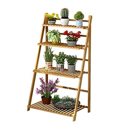 JIA JIA HOME-Intérieur/extérieur Étagères 4 niveaux échelle fleur étagères pliable étagère en bois étagère de coin étagères jardin plante présentoir pour les plantes Pots étagères/étagère de support