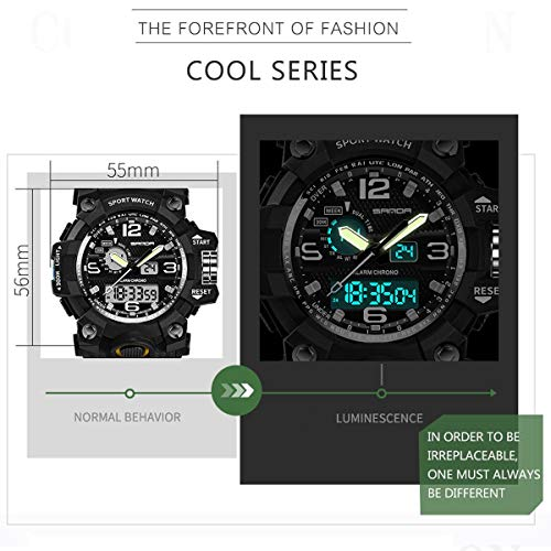 Men's Watches Military Sports Digital Electronic Analog Dual Time Outdoor Army Wristwatch Tactical Big Watch for Men