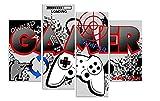 HNBDH Impresiones sobre Lienzo Designs Boys Gamer Controlador De Computadora Gaming 4 Piezas Imagen En Lienzo De Cuadros 60X80Cm Sin Marco