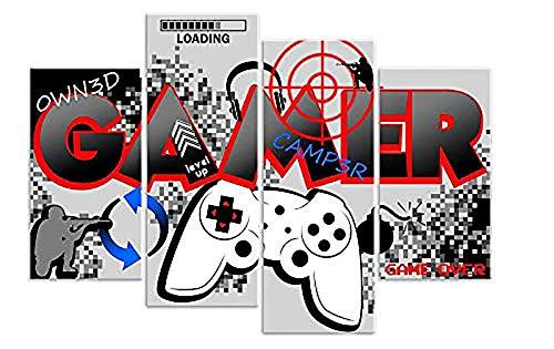HNBDH Impressions sur Toile Designs Gamer Computer Controller Gaming 4 Pièce Impression sur Toile Image sans Cadre 60X80Cm sans Cadre