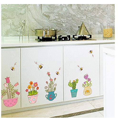 MINGKK - Adhesivo para pared, diseño de flores de dibujos animados, para dormitorio, salón, cocina, baño, ventana, azulejos extraíbles, adhesivo decorativo
