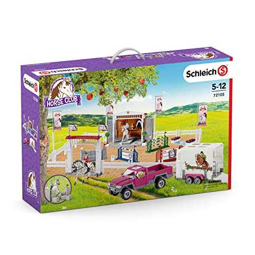 SCHLEICH Horse Club, Horse Toys for Girls and Boys Ages 5-12, Big Horse Show with Pickup and Horse Box 60-Piece Playset