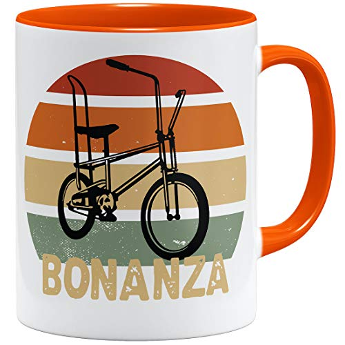 OM3® Bonanza Fahrrad Tasse |V | Keramik Becher | 11oz 325ml | Beidseitig Bedruckt | Orange