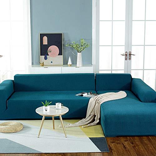B/H Lavable/Antiácaros Funda de sofá,Funda de sofá Simple con Todo Incluido, Funda de sofá de Tela elástica-Azul B_145-185cm,Sillón Elastano Fundas de Sofá