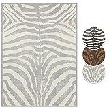 Alfombra Boss Design de pelo corto con estampado de cebra, color: crema/gris, tamaño: 120 x 160 cm