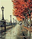 (Frameless) - Diy Oil Painting, Paint By Number Kit- Romantic Love Autumn 16 50cm .