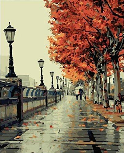 Kit per dipinto a olio da dipingere seguendo i numeri, motivo autunno romantico, dimensioni: 40,64 x 50,8 cm