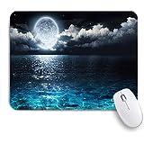 ECOMAOMI 可愛いマウスパッド 海の海のようなターコイズブルーのガラスと夜空の満月と霧の雲 滑り止めゴムバッキングマウスパッドノートブックコンピュータマウスマット
