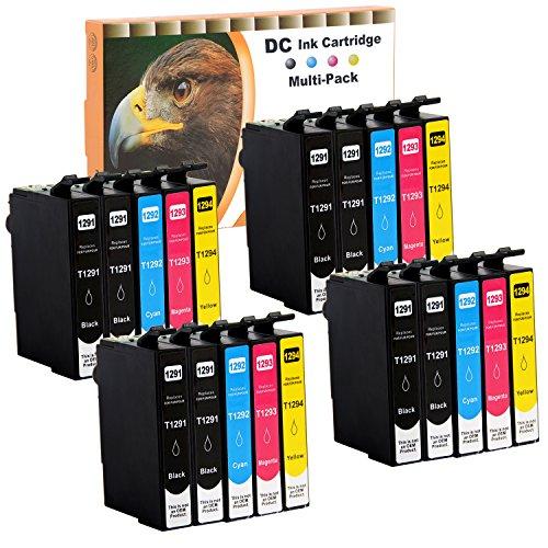 D&C 20 Druckerpatronen Kompatibel mit Epson T1291 T1292 T1293 T1294 für Epson Stylus SX430W SX435W SX525WD WorkForce WF3010 WF3010DW WF3520 WF3530 WF3540 WF7015 WF7515 Office B42WD BX525WD BX535WD
