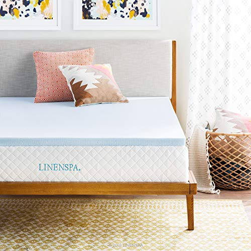 LINENSPA 2 Inch Gel Infused RV Queen Memory Foam Mattress Topper, Blue