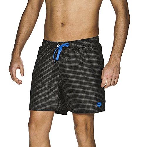 arena Herren Badeshorts Yarn Dyed Boxer (Schnelltrocknend, Kordelzug, Seitentaschen, Weiches Material), Black-White (501), S