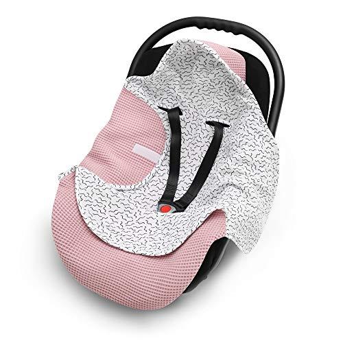 EliMeli Einschlagdecke für Babyschale 100% Baumwolle - Leichte Baby Decke für Autositz aus Waffelstoff und Musselin für den Sommer und Frühling, universal z.B. Maxi Cosi (Rosa - Zygzak)