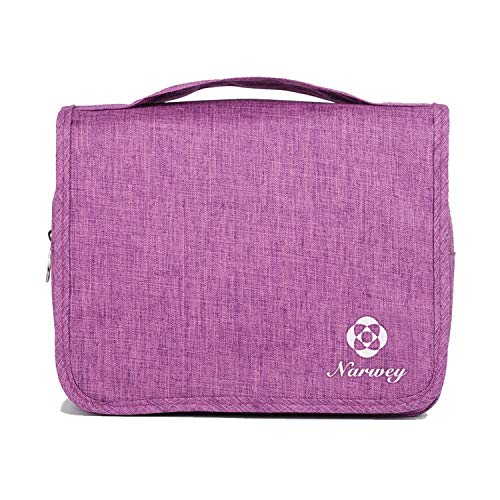 Hanging Travel Toiletry Bag Cosmetic Make up Organizer for Women and Girls Waterproof (Y-Purple)