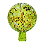 Lauschaer Glas Gartenkugel Rosenkugel aus Glas mit Granulat zitronengelb d 12cm mundgeblasen handgeformt