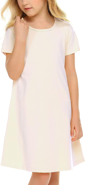 Arshiner Girls Cotton Dress Floral Print Short Sleeve Casual T-Shirt Dress