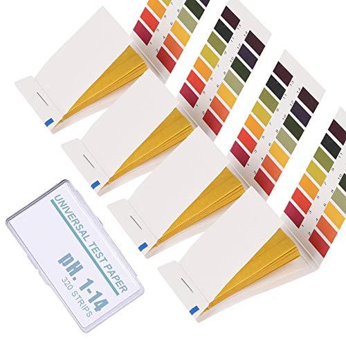 4 Packs of 320 pH Test Strips, pH. 1-14 Test Paper, Litmus Paper pH Test Strips, pH Balance Test Strips for Women for Water Saliva Urine Soil Testing