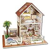 TOPINCN Holz-Miniatur-Puppenhaus, LED-Licht, Möbel, Puppenhaus, Wohnung, Heimwerker-Set, für...