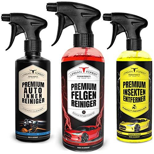 Auto Reiniger SPARSET | Auto Innenraum Reiniger & Innenraumpflege 500ml + Felgen Reiniger 1000ml + Auto Insektenentferner für Lack & Scheiben 500ml | Made in Germany | URBAN Forest