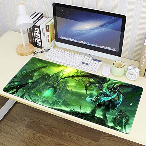 Mouse Pads World of Warcraft Large Gaming Mouse Pad Natural Rubber Waterproof Non Slip Not Easy to Fade Soft and Washable Gaming Table Mat Mouse Pad for Office and Home Green 27.5X11.8X0.1Inch