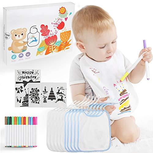 Lictin 28 pcs DIY Baberos para Bebé, 10 pcs Baberos de Bebé Impermeables de Algodón de Doble Capa, 14 Marcadores Textiles y 4 Juegos de Plantillas de Pintura, Regalo Perfecto para Bebé