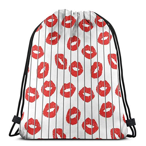 LLiopn Drawstring Sack Backpacks Bags,Sexy Woman Lips Behind The Bars Female Love Romance Valentines Day Print,Adjustable.,5 Liter Capacity,Adjustable.