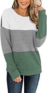 PRETTODAY Women's Crew Neck Pullovers Color Block Sweaters Long Sleeve Tops