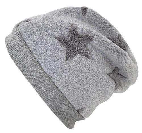 Wollhuhn Warme Beanie-Mütze in hellgrau mit mittelgrauen Sternen, Wellnessfleece, 20151202, Größe: XS