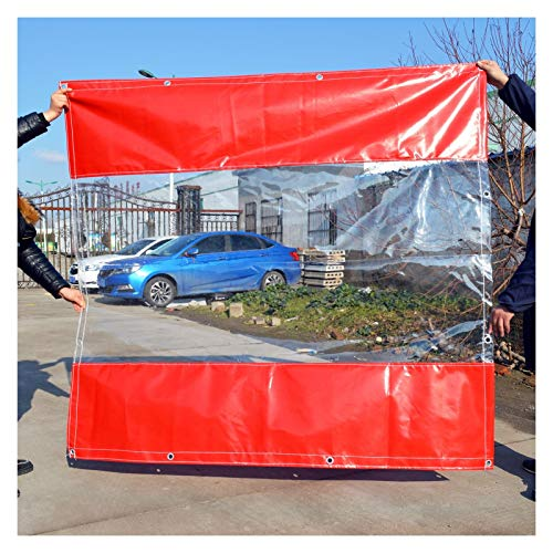 YJFENG Heavy Duty Tent Side Panel, Terraces Waterproof Curtains, Transparent Tarpaulin Stitching Coated Canvas, 0.5mm PVC Windproof, for Canopies, Gazebo (Color : Clear-red, Size : 3.2X2.9M)
