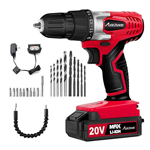 Avid Power 20V MAX Lithium Ion Cordless Drill, Power Drill Set with 3/8...