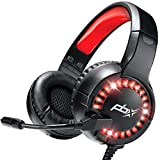 PBX Gaming Headset with Microphone - Wired LED, Cushioned Ear Pads, Adjustable Headband - for Comfy, Immersive Gameplay on PC, Laptop, Gaming Consoles (Headset w/Boom Mic + Vibration)