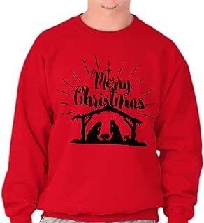 Merry Christmas Nativity Scene Jesus Christ Crewneck Sweatshirt