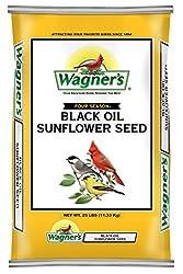 professional Wagner 76827 Black Oil Sunflower Seeds Wild Bird Food, 25 Pound Bag