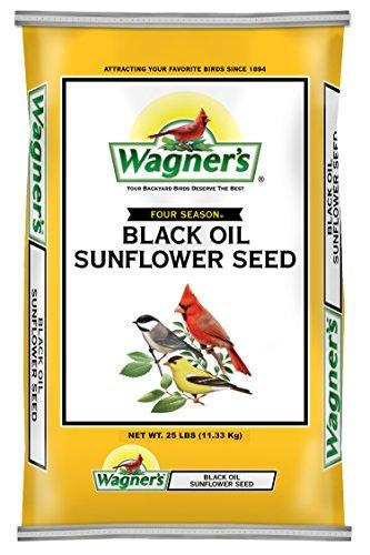 Wagner's 76027 Black Oil Sunflower Wild Bird Food, 25-Pound Bag